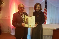 January 25, 2020 - Senator Iovino presenting a Senate Citation to Thomas Bonura for 50 years of service at the 83rd Installation of Officers Banquet for Pleasant Hills Volunteer Fire Company & Relief Association